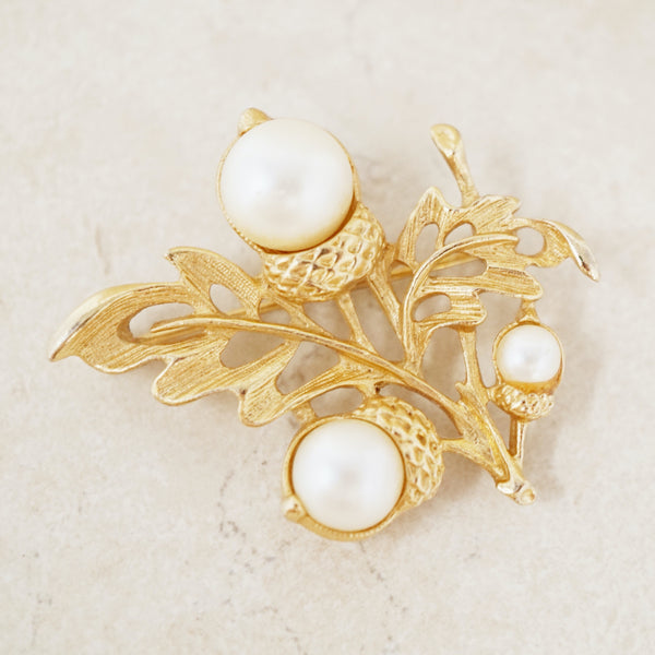 Vintage Gilded Acorn Brooch with Faux Pearls by Avon, 1980s