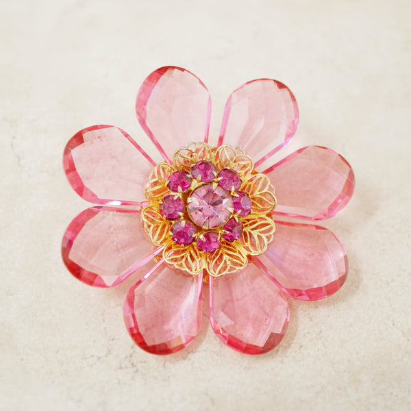 Vintage Pink Crystal Flower Brooch