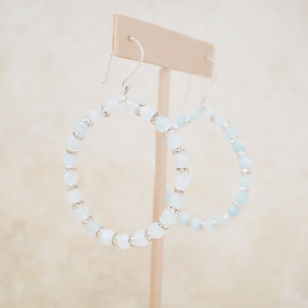 Aquamarine Gemstone Hoop Earrings