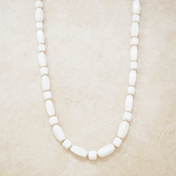 Vintage White & Gold Plastic Beaded Necklace, 1960s