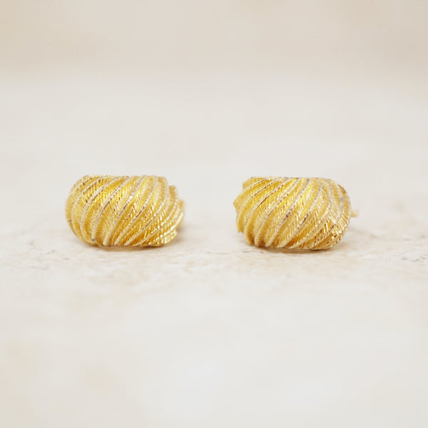 Vintage Gilt Dainty Scallop Earrings by Crown Trifari, 1950s