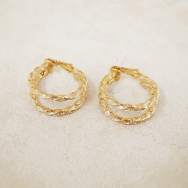 Vintage Gold Twisted Double Hoop Earrings, 1970s
