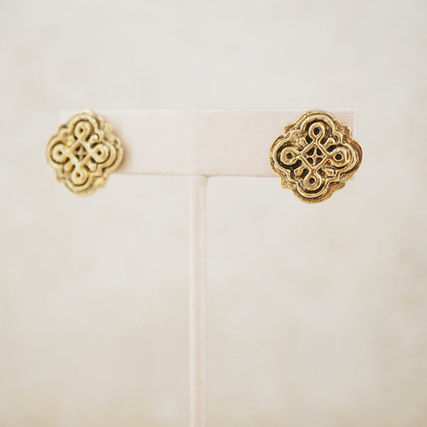 Vintage Gilded Etruscan Earrings, 1980s