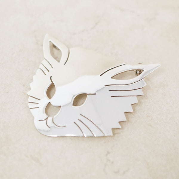 Vintage Sterling Silver Taxco Kitty Cat Brooch, 1970s