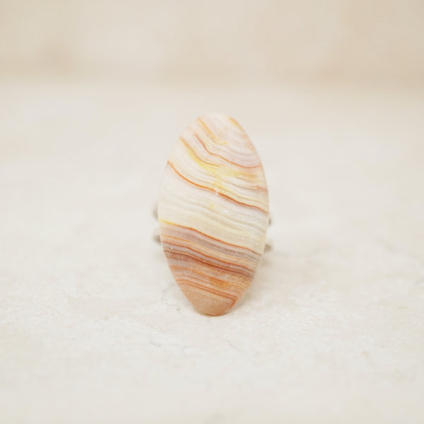 Vintage Striped Agate Gemstone Ring, 1970s