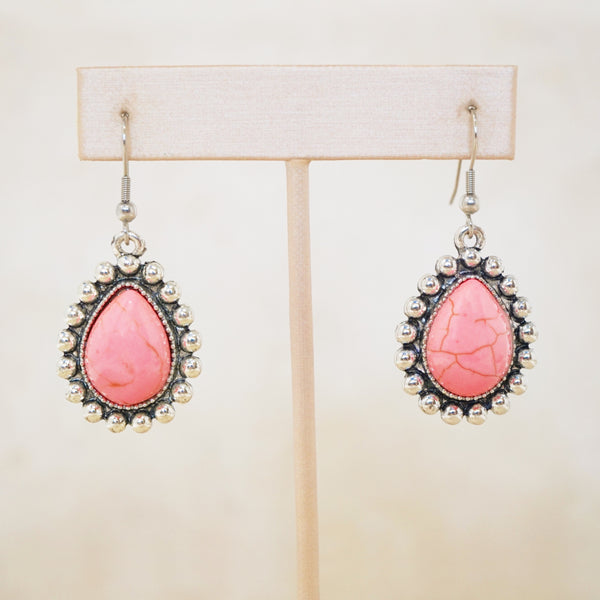 Pink Howlite Statement Earrings