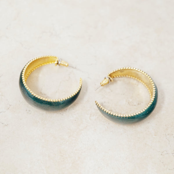 Vintage Hunter Green Enameled Hoop Earrings, 1980s