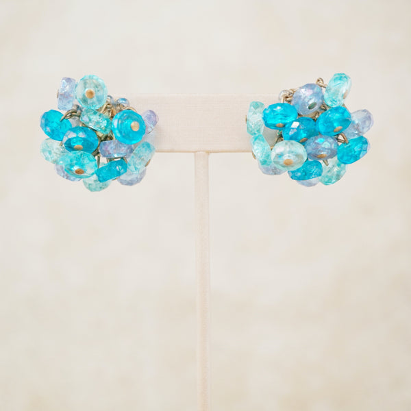 Vintage Shades of Blue Beaded Cluster Earrings, 1960s