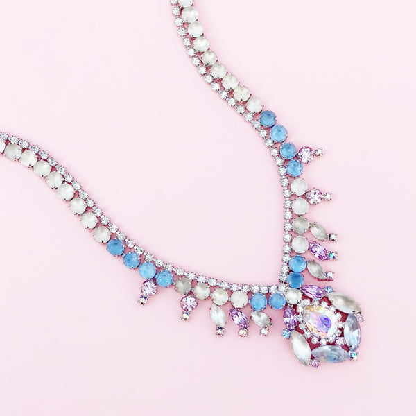 Vintage Pastel & Frosted Rhinestone Cocktail Necklace By Hobé, 1950s