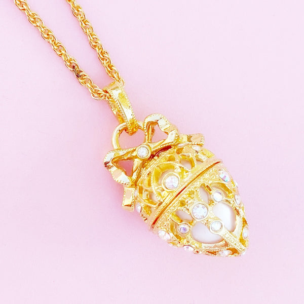 Vintage Faberge Egg Locket Pendant Necklace By Joan Rivers, 1990s