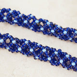 Vintage Blue Seed Bead Woven Necklace, 1970s
