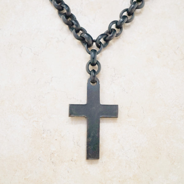 Antique Victorian Cross Mourning Necklace