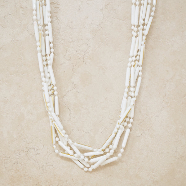 Vintage Three Strand White & Gold Beaded Necklace, 1960s