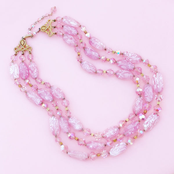 Vintage Three Strand Bubblegum Pink Art Glass Necklace by Crown Trifari, 1960s