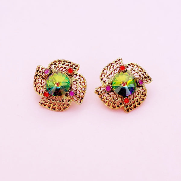 Vintage Watermelon Rivoli Vitrail Crystal Golden Filigree Statement Earrings, 1950s