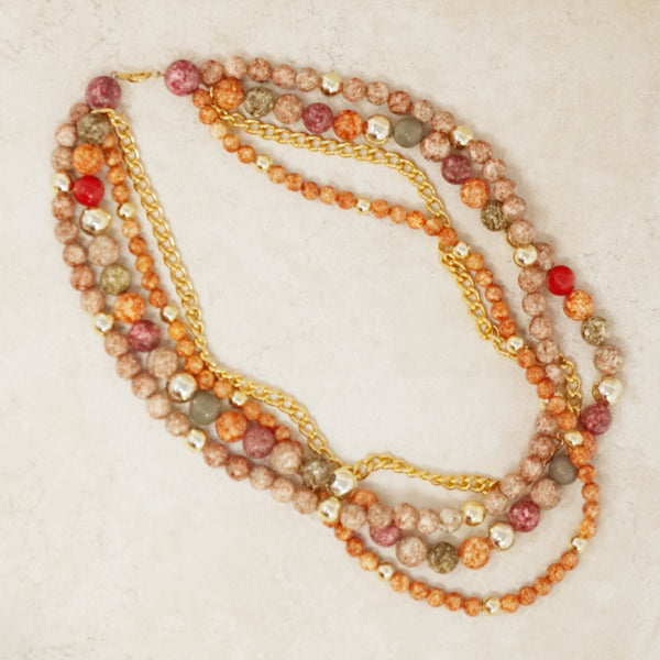 Vintage Four Strand Beaded Necklace, 1980s