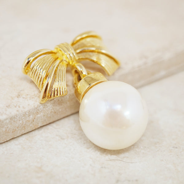 Vintage Gilded Bow Brooch with Large Pearl Dangle, 1980s