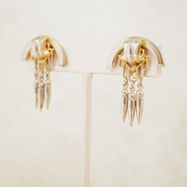 Vintage Gilded Deco Dangle Earrings by Ballau Jewelry, 1930s