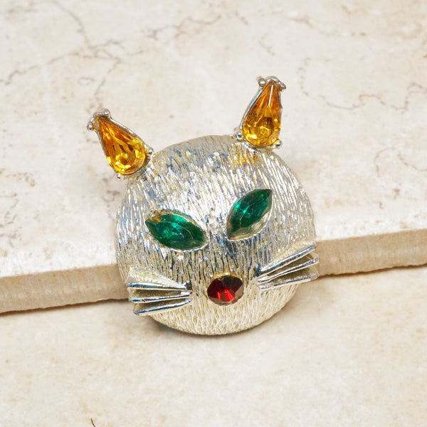 Vintage Silver Cat Brooch with Rhinestones by Dodds, 1950s