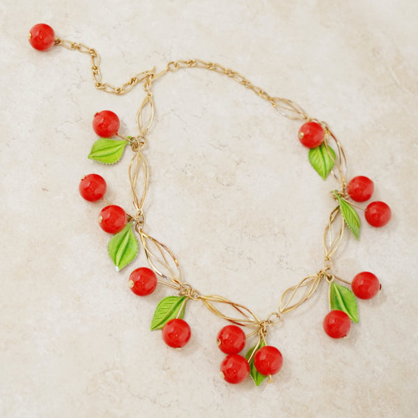 Vintage Cherry Dangle Necklace, 1960s