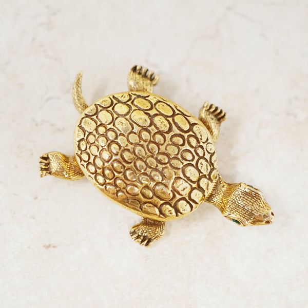 Vintage Turtle Brooch with Green Rhinestone Eyes by Jeanne, 1960s
