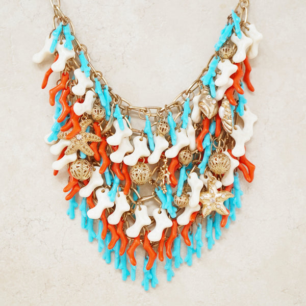 Vintage Coral Bib Statement Necklace, 1960s