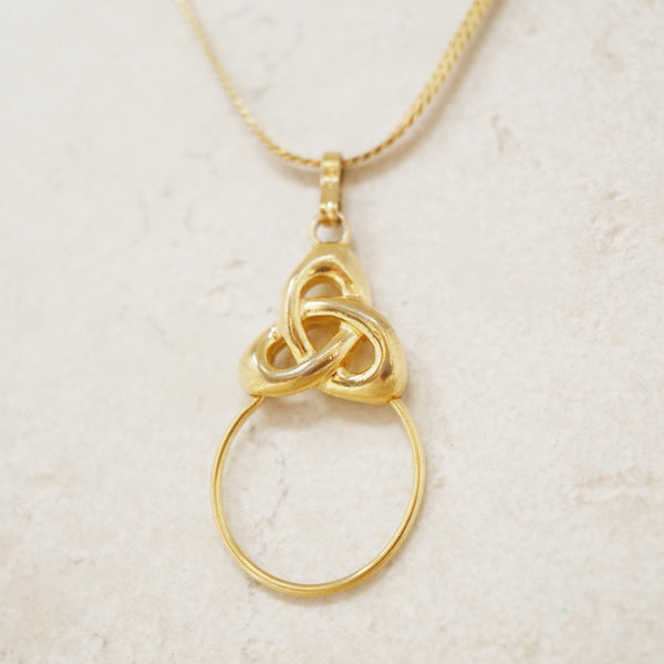 Vintage Gilded Knotted Ring Pendant Necklace by Monet, 1970s