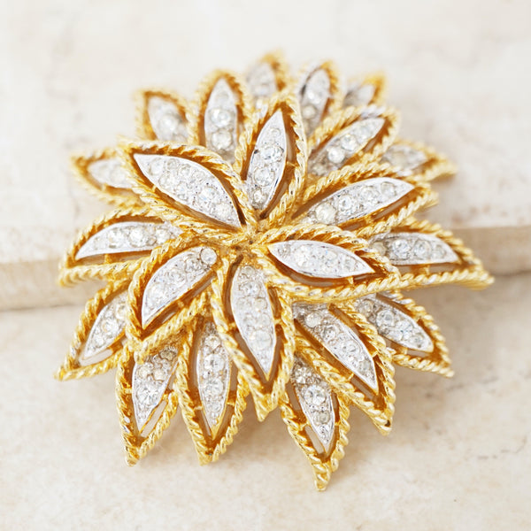 Vintage Two Tone Gilt & Rhinestone Floral Burst Brooch by Panetta, 1970s