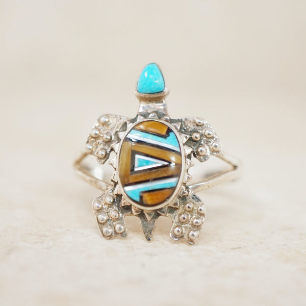 Sterling Silver Turtle Ring with Turquoise Inlay