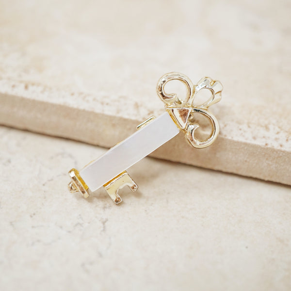 Vintage Mother of Pearl Key Dainty Brooch