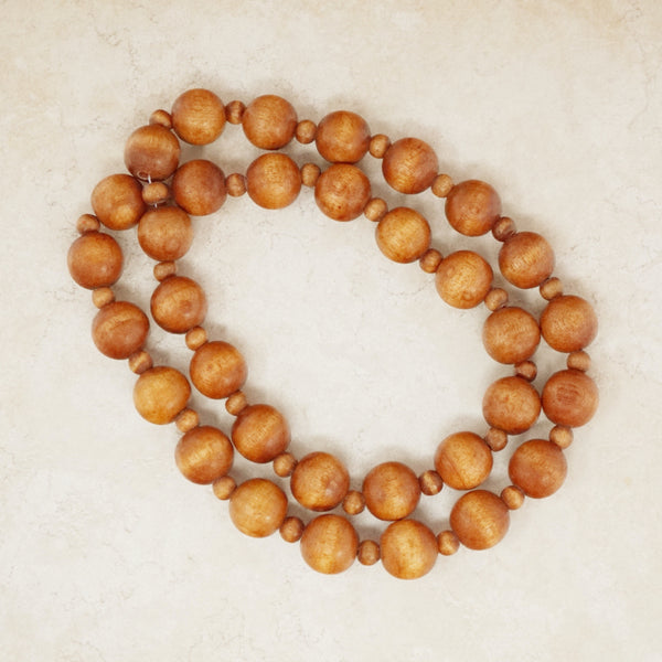 Vintage Wooden Bead Statement Necklace, 1970s