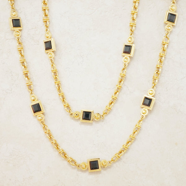 "Vintage 42"" Gilt & Faceted Onyx Heavy Chain Station Necklace by St. John, 1980s"