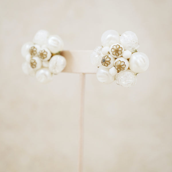 Vintage Faux Pearl Floral Cluster Earrings, 1950s
