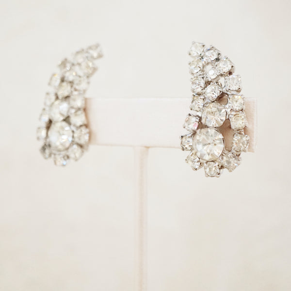 Vintage Rhinestone Statement Climber Earrings, 1950s