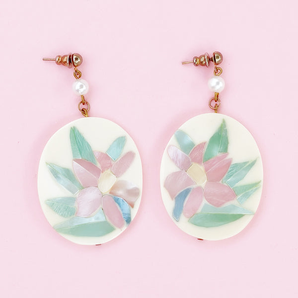 Pastel Mother of Pearl Floral Drop Earrings, 1980s