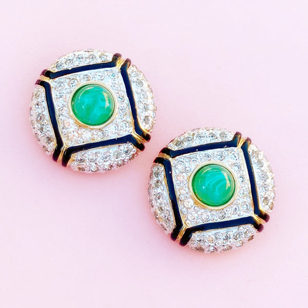 Vintage Art Deco Style Gilt & Crystal Rhinestone Pavé Button Earrings with Green Glass Cabochon By Vogue Bijoux, 1980s