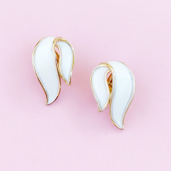 Vintage Gilt & White Enamel Abstract Ribbon Earrings By Crown Trifari, 1960s