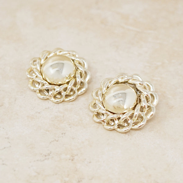 Vintage Gold Curb Chain Button Earrings