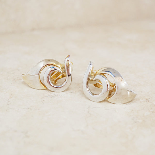 Vintage Abstract Swirl Statement Earrings