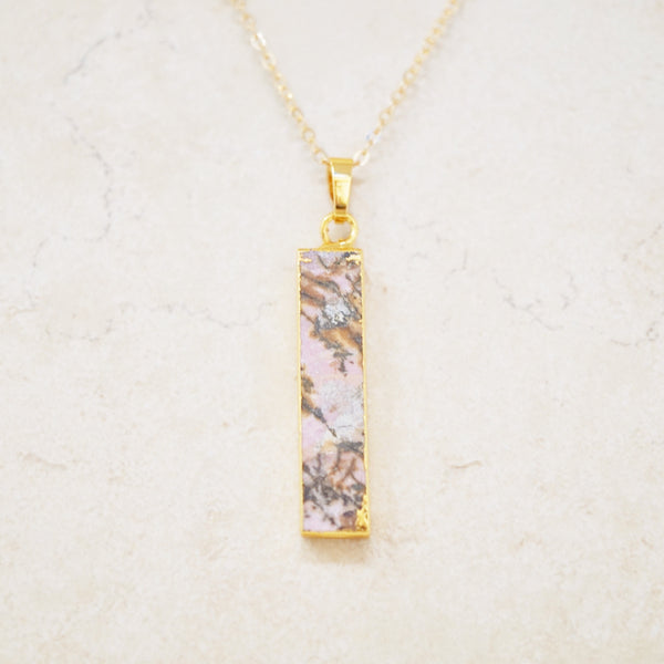 Gemstone Pendant Necklace (Pink Druzy)