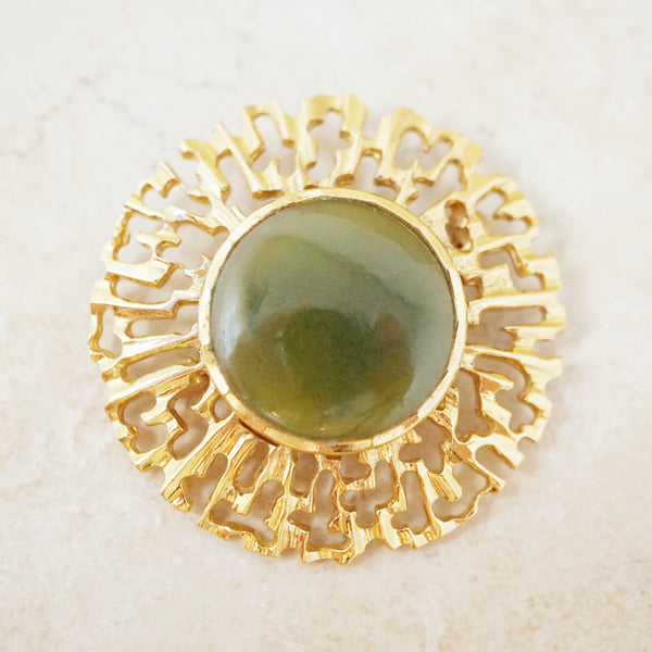 Vintage Brutalist Gilded Brooch with Jade Gemstone, 1970s
