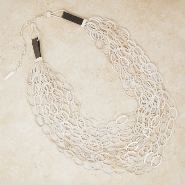 Vintage Ten Strand Silver Statement Necklace by Ellen Tracy, 1990s