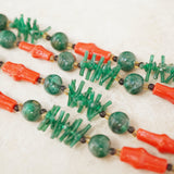 Vintage Faux Jade & Coral Asian Necklace, 1960s