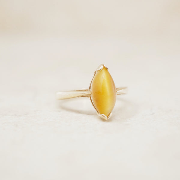 Vintage 10k Gold Tiger's Eye Gemstone Ring, Size 6, 1980s