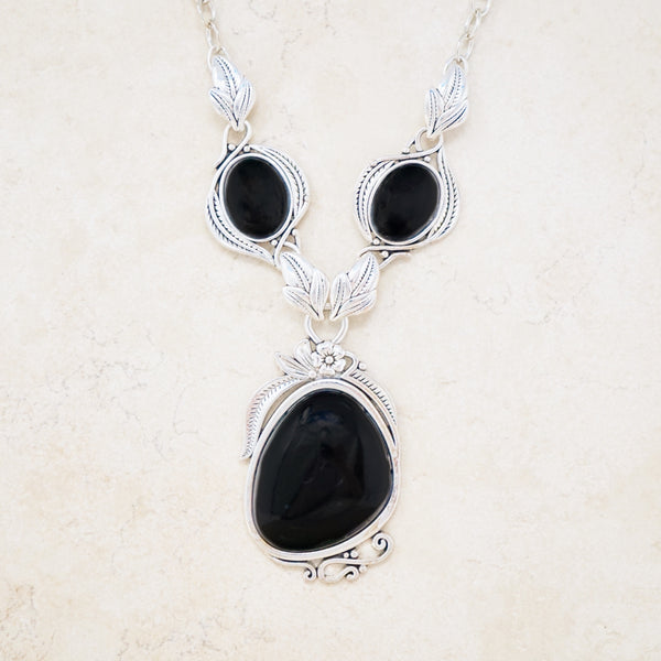 Faux Onyx Statement Necklace
