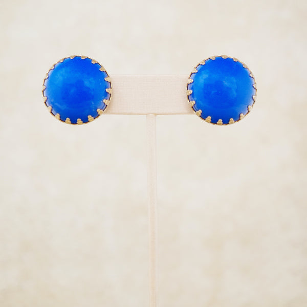 Vintage Egyptian Blue Button Earrings, 1960s