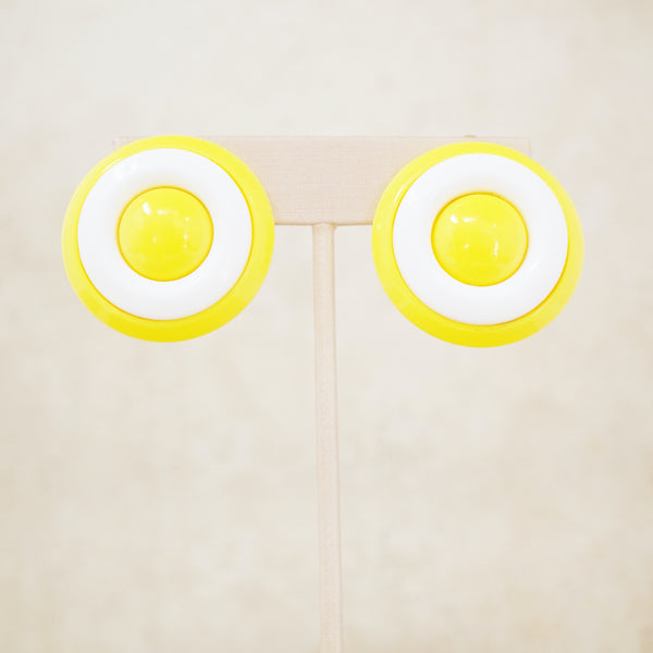 Vintage Yellow & White Button Statement Earrings, 1960s