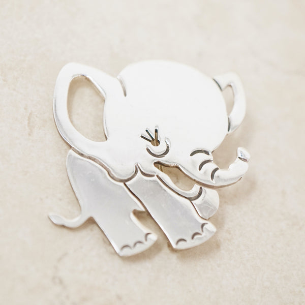 Vintage Sterling Silver Taxco Baby Elephant Brooch, 1970s