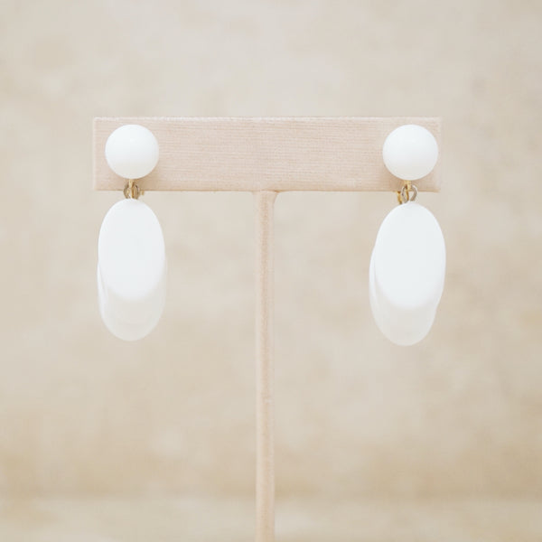 Vintage White Plastic Dangle Earrings by Crown Trifari, 1950s