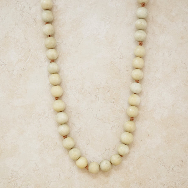 Vintage Suede and Wood Bead Necklace, 1970s